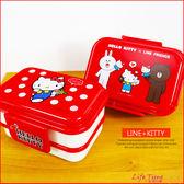 LINE 熊大 Hello Kitty 凱蒂貓 雙層便當盒 扣式便當盒 MIT B09643