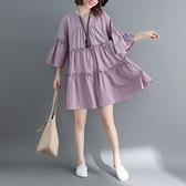 漂亮小媽咪 實拍 七分袖 文藝 中大尺碼 洋裝 長裙【D7570】中袖 純色 寬鬆 傘狀 喇叭袖 洋裝