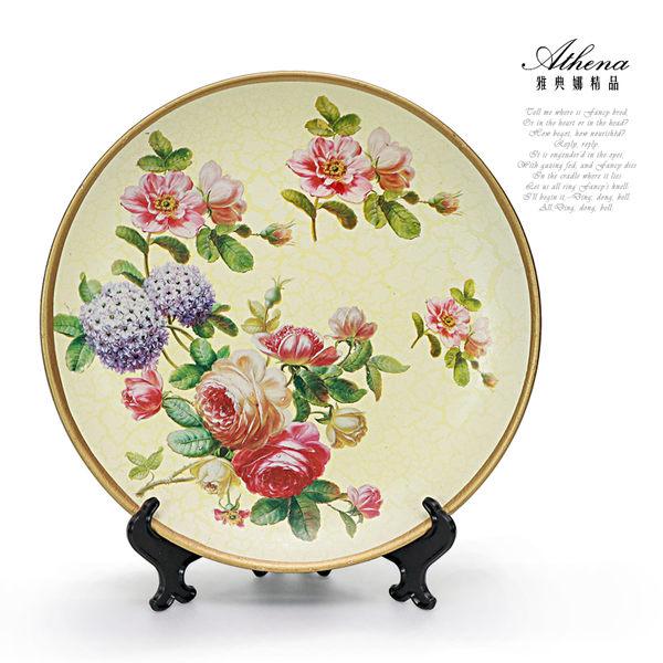 【雅典娜家飾】仿冰裂紋花卉陶瓷盤飾-EI20