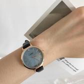 冰茹妹妹家 韓版經典復古簡約大海深藍貝母漸變精致腕表手錶女 初語生活