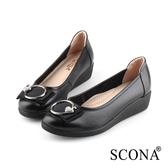 SCONA 蘇格南 全真皮 輕盈舒適鑽扣厚底鞋 黑色 31003-1