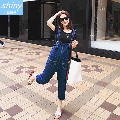 【V1529】shiny藍格子-隨性自我.雙口袋寬鬆連身牛仔吊帶褲