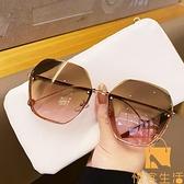 墨鏡女無框切邊太陽鏡潮氣質大臉顯瘦時尚眼鏡防紫外線【慢客生活】