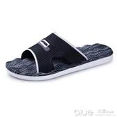 夏季韓版男士拖鞋潮流一字拖浴室情侶鞋防滑厚底大碼室內外涼拖鞋  深藏blue
