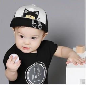 預購-嬰兒童卡通貓咪網眼帽 夏天防曬遮陽帽寶寶旅遊嘻哈帽