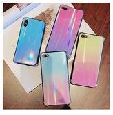iPhone X 手機殼  彩色 鐳射 漸變 保護套 四角 氣墊 鏡面 保護殼