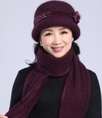 秋冬中年媽媽帽圍巾