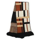 DAKS經典格紋雙面拼色羊毛圍巾(咖啡黑色)239337-3