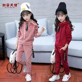 套裝女童秋裝套裝2018新款韓版時尚中大兒童裝秋冬季金絲絨運動兩件套