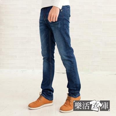 【7221】日系皮標刷色伸縮小直筒牛仔褲● 樂活衣庫