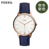 FOSSIL ANDY 玫瑰金藍色皮革手錶FS5567