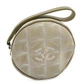 【奢華時尚】CHANEL BELL LINE 米色帆布手拿圓形隨身包(八八成新)#24902
