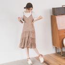 MUMU【P31711】小豹紋細肩吊帶雪紡碎花裙。三色