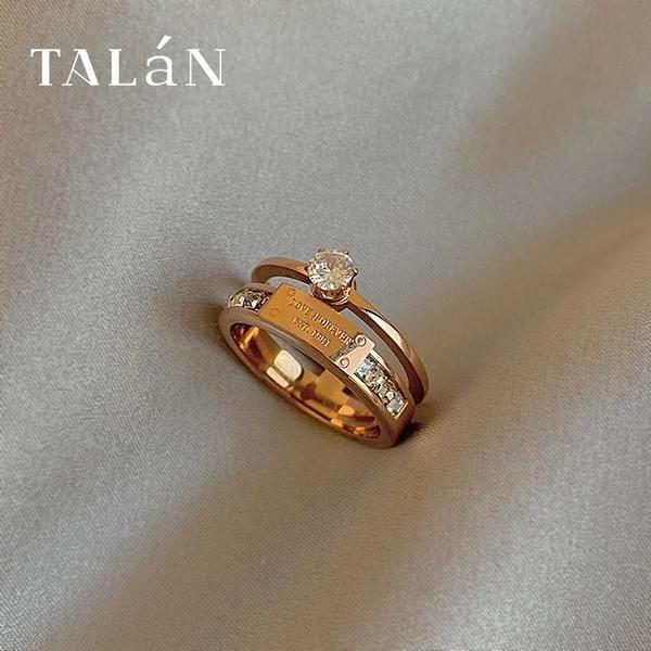 戒指塔蘭大鋯石鈦鋼雙層戒指女輕奢時尚高級感個性指環不可調節食指戒 雲朵
