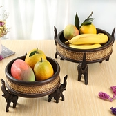 果盤創意現代客廳家用泰國實木個性大象竹編水果盤干
