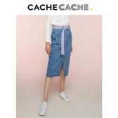 CacheCache春新款開叉氣質復古港味百搭中長裙修身牛仔裙半交換禮物