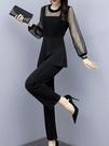 2021春季新款大碼女裝微胖套裝夏顯瘦網紅穿搭網紗波點減齡兩件套 依凡卡時尚