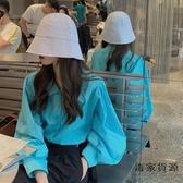 藍色上衣長袖寬松韓版女秋季防曬衣外套燈籠袖襯衫【毒家貨源】