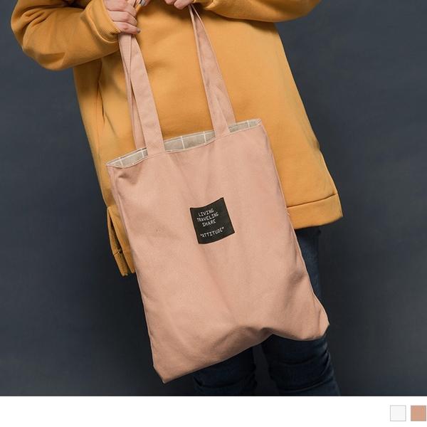 《ZB0486》日常棉麻格紋雙面背帆布包 OrangeBear