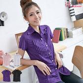 襯衫--簡潔知性壓摺抓皺設計短袖襯衫(白.黑.粉.紫S-3L)-H129眼圈熊中大尺碼