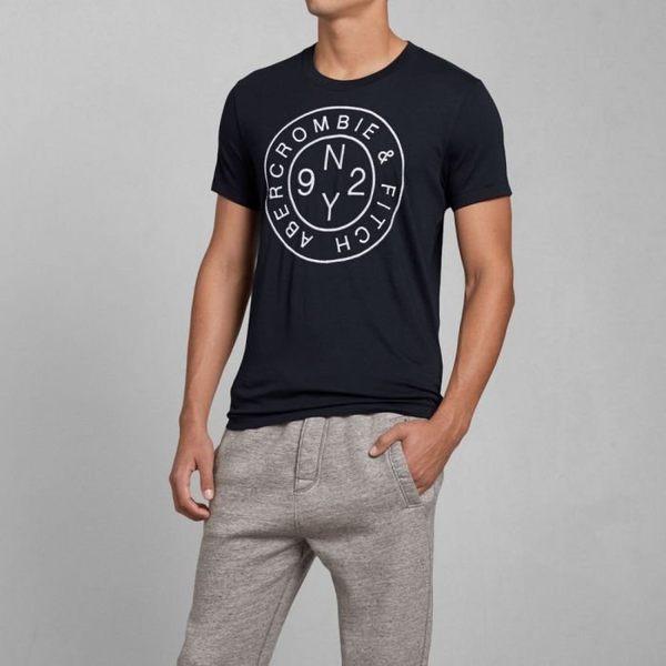 A&F Abercrombie&Fitch  AF 最新款刺繡圓標字母男款短T-深藍