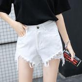 韓版學生高腰破洞毛邊黑色牛仔短褲女寬鬆闊腿熱褲子 祕密盒子