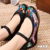 布鞋女單鞋 民族風繡花鞋 坡跟厚底紅色婚鞋 內增高漢服舞蹈鞋‧衣雅