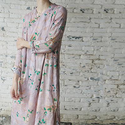 苧麻連身裙 印花斜襟長裙 雙層玉扣旗袍裙-夢想家-0803