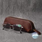 鋼筆收納盒 復古手工頭層皮質筆盒簡約皮質文具鋼筆皮套眼鏡盒瘋馬皮拉鍊筆袋 4色
