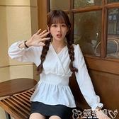 白色襯衫 秋裝2021年新款設計感小眾修身荷葉邊上衣女秋季收腰長袖襯衫女裝 嬡孕哺