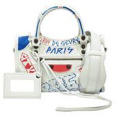 【Balenciaga 巴黎世家】300295 經典Mini City Graffiti系列綿羊皮古銅金釦塗鴉機車包(白色)