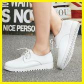 618年㊥大促 春季英倫風女鞋學生小白鞋繫帶平底皮鞋平跟休閒鞋白色鞋子女單鞋