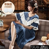帶胸墊睡裙女夏季短袖棉質學生韓版可愛大碼寬鬆中長款薄款家【全館免運】