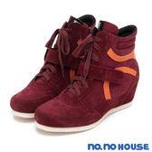 休閒鞋 率性美型內增高綁帶休閒靴(紅)*nono house  【18-8381r】【現貨】