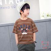 男童短袖兒童短袖t恤中大童半袖條紋體恤衫潮(萬聖節)