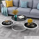 北歐旋轉茶几簡約小戶型鋼化玻璃客廳陽台小茶几創意鐵藝圓形邊幾  夏季新品 YTL