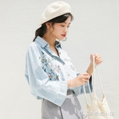 韓版春秋裝新款小清新刺繡牛仔襯衫港風Polo領學生寬鬆上衣女 安妮塔小鋪