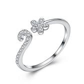 925純銀戒指 鑲鑽-優雅小花生日情人節禮物女配件73an73【巴黎精品】