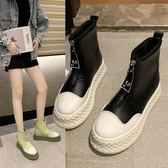 2019新款歐美時尚黑白撞色字母拉鍊短靴馬丁靴 厚底短靴子 ~2色