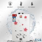 家用商用純銅水箱家燃氣瓦斯熱水器液化氣天然氣電池款即熱式免水壓8升LXY2901【野之旅】