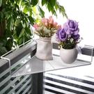 桌面置物架 辦公室三角鐵藝花架辦公桌面工位隔板置物架陽臺護欄轉角收納掛架