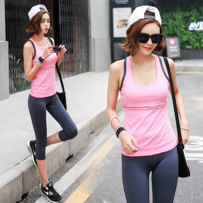 韓國春夏新款瑜伽服套裝套女短袖背心休閒運動跑步健身喻咖服   -cmx0042