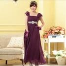 中大尺碼洋裝 L-3XL小禮服韓版雪紡短袖縫鑽長版連衣裙 紫色 #gk9802 @卡樂@