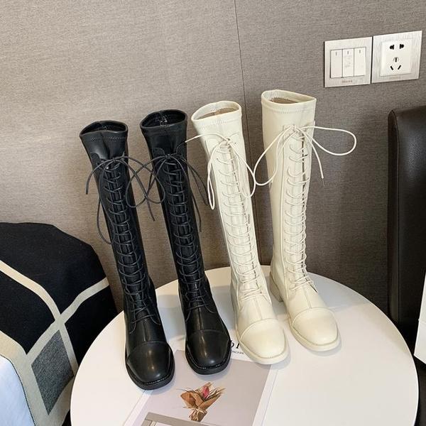 ins網紅瘦瘦長筒靴2019秋季新款百搭女靴粗跟過膝長靴女騎士靴子