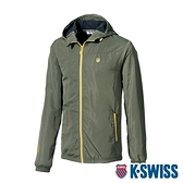 K-SWISS Fleece Jacket刷毛防風外套-男-軍綠
