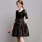 蕾絲洋裝-氣質蓬蓬裙修身顯瘦五分/長袖連身裙2色72f21【巴黎精品】