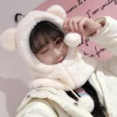 【新年鉅惠】 兔子耳朵帽子女秋冬季甜美可愛軟妹毛毛絨圍巾一體韓版百搭兩件套