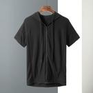 夏季新款連帽男士短袖T恤男裝拉鏈衛衣男外套半袖體恤 快速出貨
