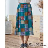 【Tiara Tiara】水彩風仿舊格子棉麻混紡半身裙(綠)