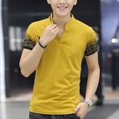 夏季男士短袖T恤修身純棉半袖V領polo衫印花青少年學生潮男裝衣服『艾麗花園』